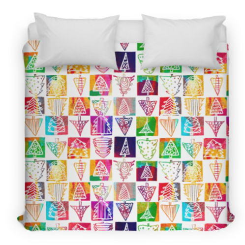 Colorful Christmas Trees Design Bed Duvet Cover