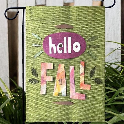 Hello Fall Autumn Garden or House Flag, Yard Decor