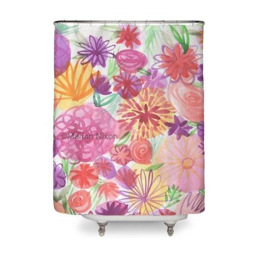 Pink Flower Garden Art Shower Curtain