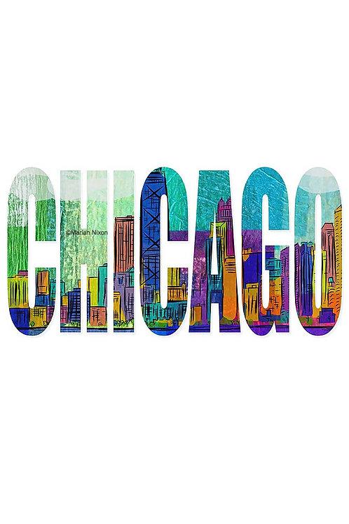 Chicago Skyline Wall Decor, Text Art Print