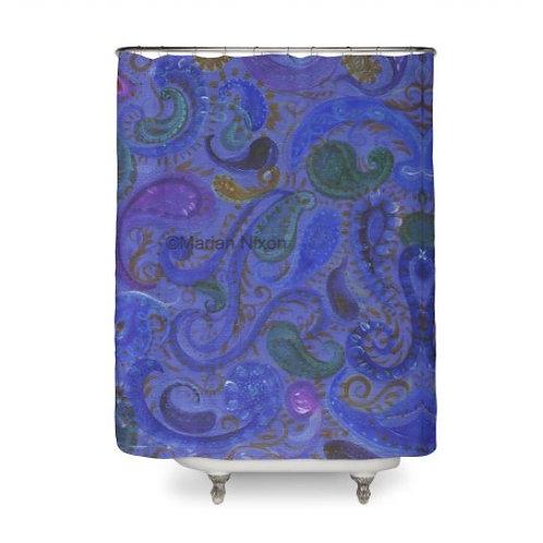 Blue Paisley Shower Curtain