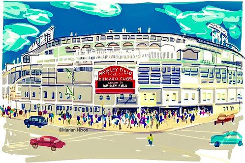 Wrigley Field Art Print, Chicago Cubs Fan Gift, Baseball Decor