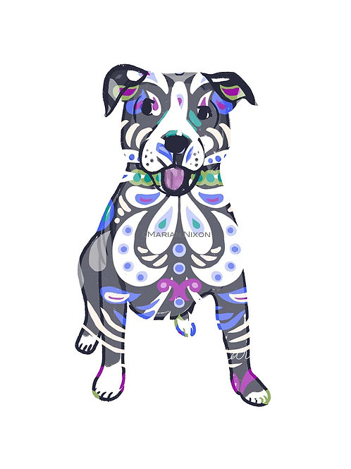 Pitbull Dog Art Print, Personalized with Your Dog's Name