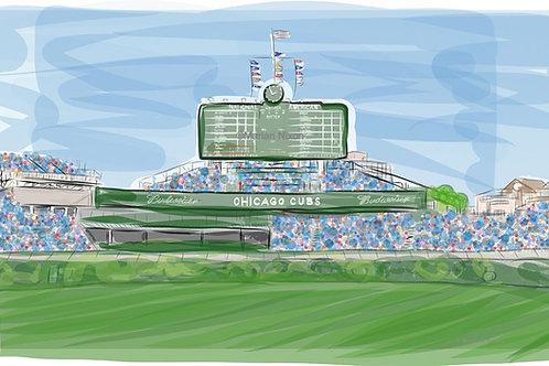 Wrigley Field Scoreboard Art, Chicago Cubs Gift