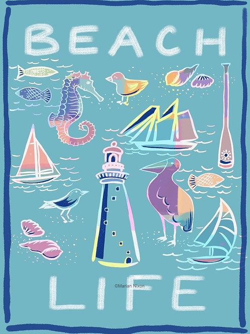Beach Life Art Print, Coastal Wall Decor