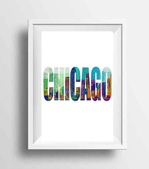 Chicago Wall Art, City Skyline Print, Gift for Him, Office Decor