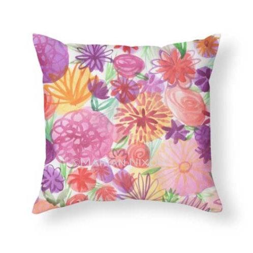 Pink Floral Throw Pillow, Summer Home Decor