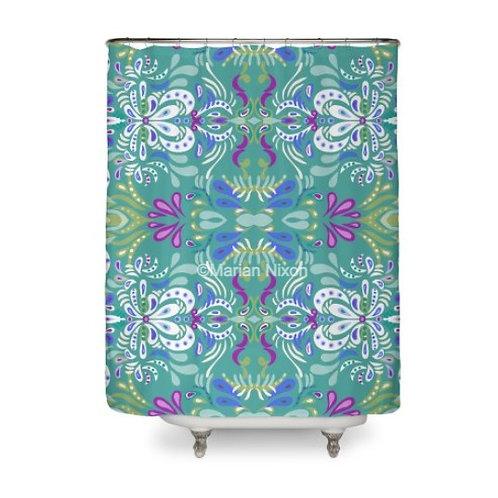 Folk Swirl Art Shower Curtain