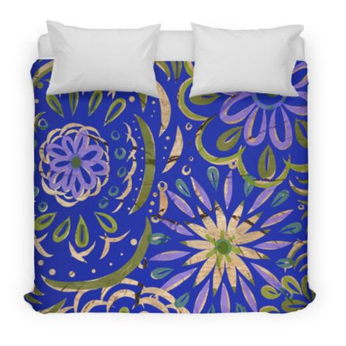Blue Floral Swirl on Wood Design Bed Duvet Cover