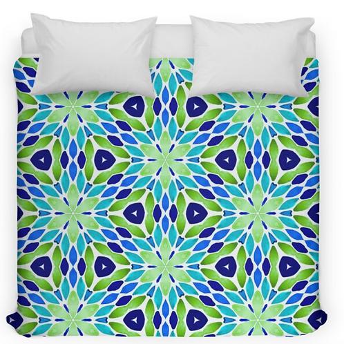 Green & Blue Geometric Design Bed Duvet Cover