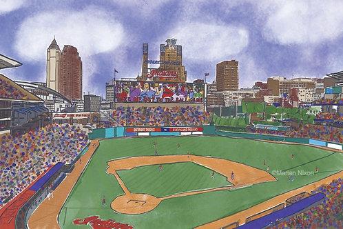 Cleveland Indians Baseball Art, Progressive Field Print