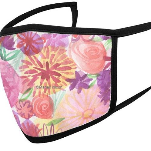 Pink Floral Watercolor Design Face Mask or Neck Gaiter