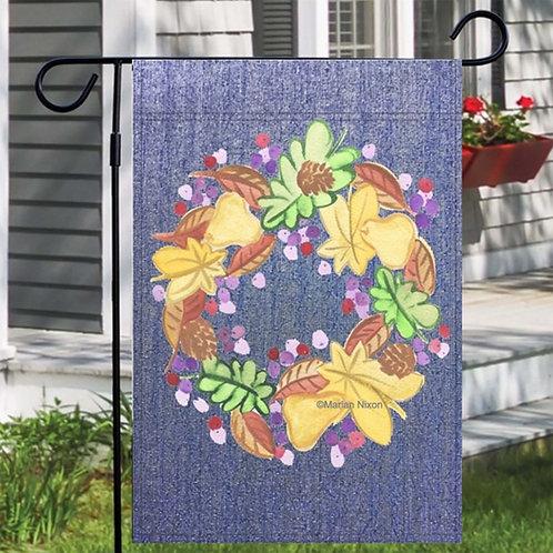 Fall Wreath Garden or House Flag, Thanksgiving Decoration, Autumn Outdoor Decor,