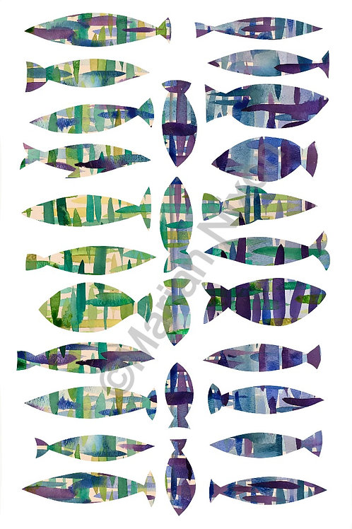 Blue and Green Fish Wall Decals, Nursery Stickers, Kids Room Decor