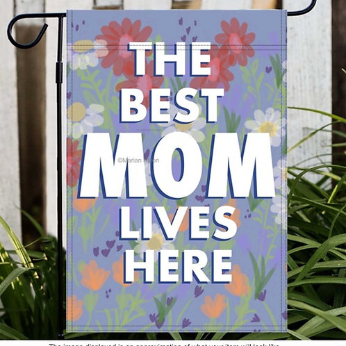 The Best Mom Lives Here Floral Pattern Garden/House Flag, Mother's Day Gift