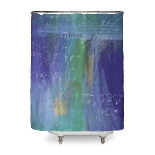 Blue Abstract Art Shower Curtain