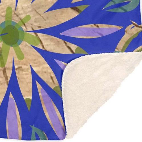 Blue Swirl Floral Throw Blankets