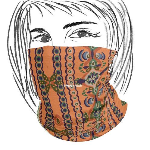Orange Folk Pattern Face Mask or Neck Gaiter