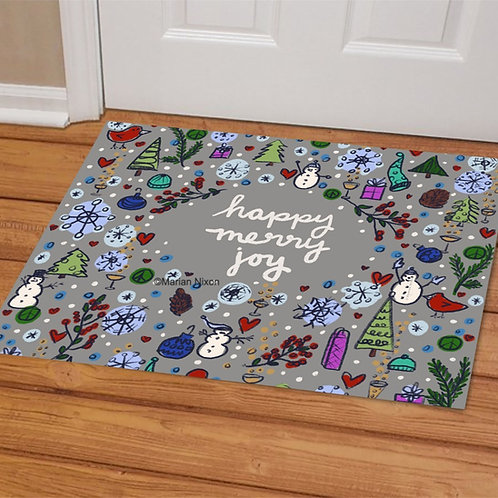 Happy Merry Joy Holiday Doormat, Welcome Mat, Christmas Porch Decor