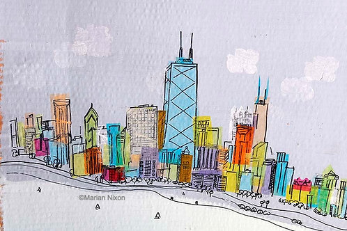 Chicago Skyline Collage/Painting Art Print