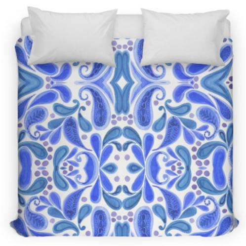 Blue Paisley Bed Duvet Cover