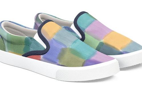 Watercolor Squares Design Slip on Sneakers