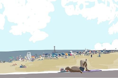 Chicago Art Print, Summer Day on Foster Beach