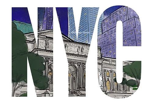 NYC Art Print, New York Public Library