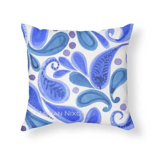 Blue Paisley Watercolor Art Throw Pillow