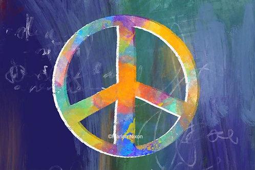 Blue Peace Sign Art Print, Office Wall Decor