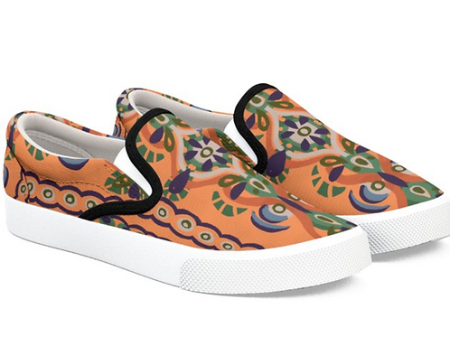 Fall Orange Art Slip on Sneakers