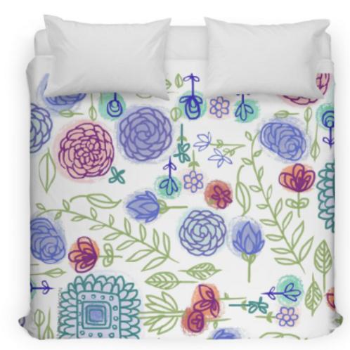 Summer Garden Flowers Bed Duvet