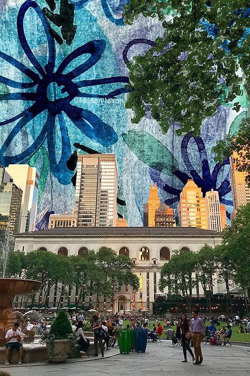 New York City Wall Art, Bryant Park Illustration