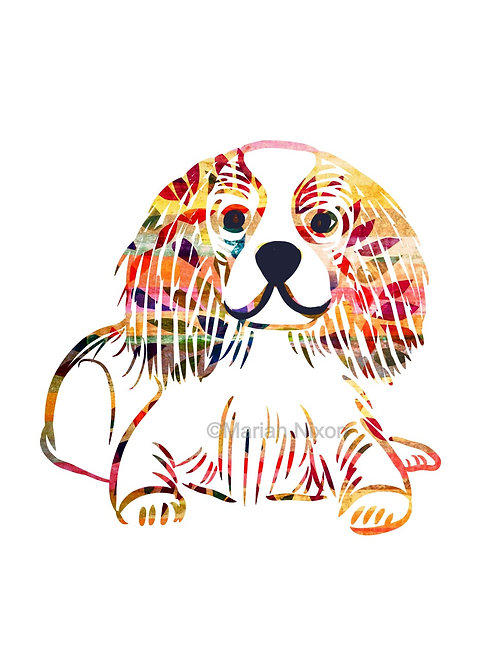 King Charles Spaniel Dog Art Print, Personalized with Your Dog's Name