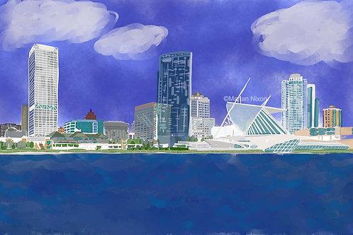 Milwaukee Skyline Art Print, Wisconsin Wall Decor