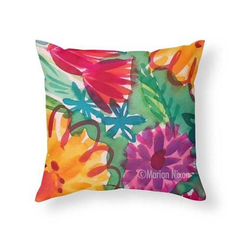 Bold Floral Accent Pillow, Summer Decor