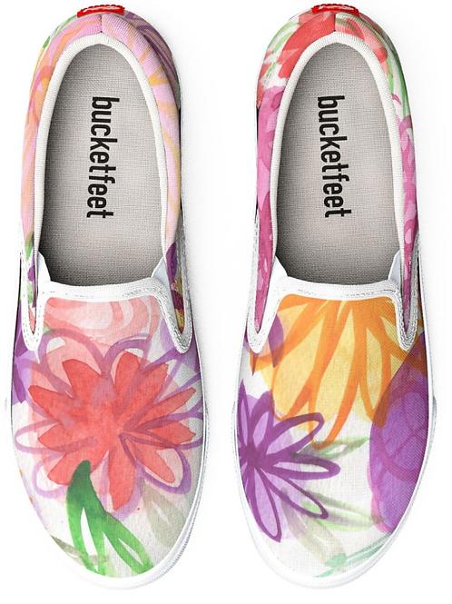 Pink Floral Watercolor Design Slip on Sneakers
