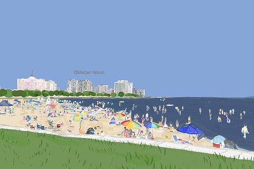 Chicago Skyline Art Print, Foster Beach