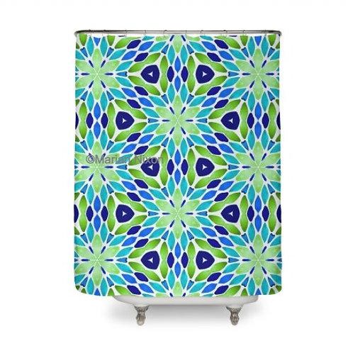 Blue Green Geo Design Shower Curtain
