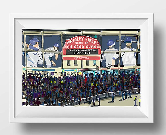 Chicago Baseball Art Print, Cubs 2016 Champs! Sports Fan Gift