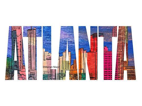 Atlanta Skyline Art Print, ATL City Illustration
