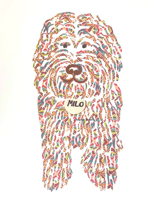Doodle Dog Art Print, Personalized with Your Dog's Name