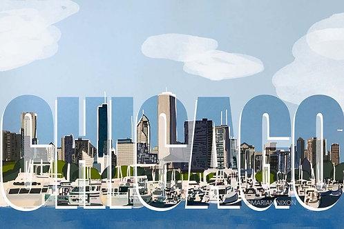Chicago Harbor & Boats Art Print, City Skyline Illustration