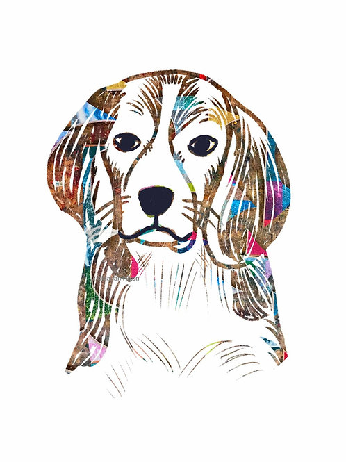 Beagle Dog Art Print, Personalized with Dog's Name