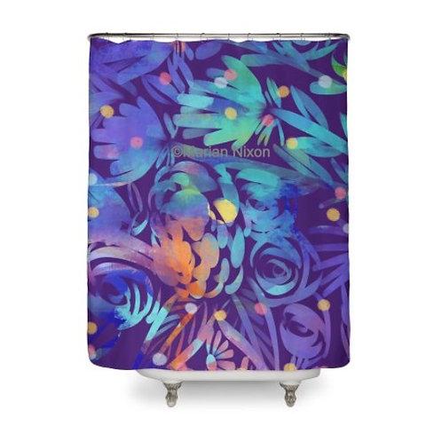 Night Garden Floral Shower Curtain