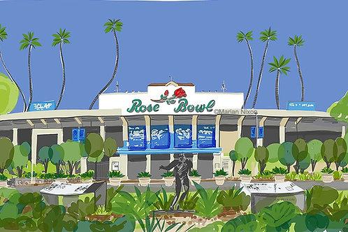 Rose Bowl Wall Art, Football Gift for Sports Fan