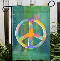 Peace Sign Garden Flag by Marian Nixon for sale