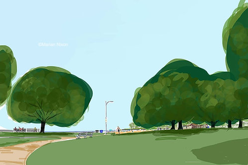 Chicago Lakefront Art Print, Foster Beach Painting