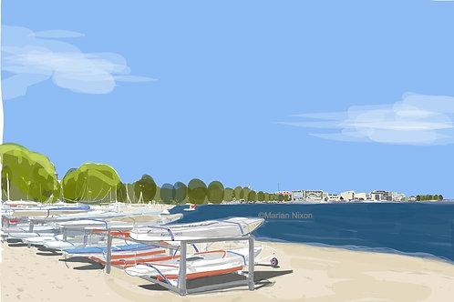 Beach Art Print, Dempster Sailing Beach, Evanston IL