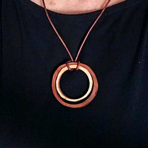 Circles Wood Necklace, Handmade Gift